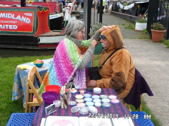 Painting Sandra to match her doggie costume (the things we do!) - thanks for the photo Michael