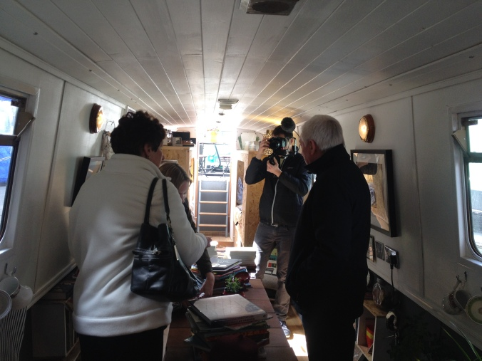 The BBC filming on The Book Barge