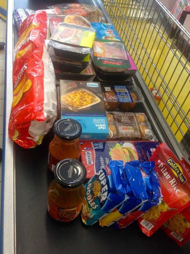 Thanks Lidl in Stourport - lots of ready meals, noodles, crisps and 'easy' to prepare food for barry
