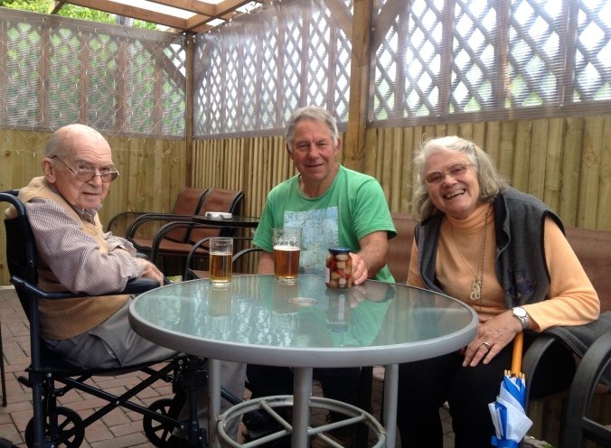 Dad, Barry and mum enjoying a lunchtime drink at The Fruiterers Arms