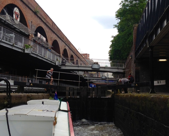 The first lock on our travels to Hebden Bridge - ascending out of Manchester