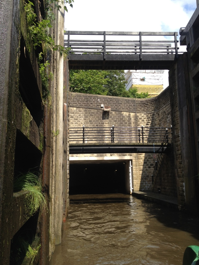 Leaving the cavernous Tuel Lane Lock - straight into a tunnel before the next manned lock