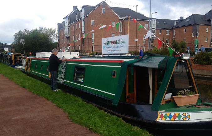 Set up ready to trade next to 'The Wool Boat' in Stone