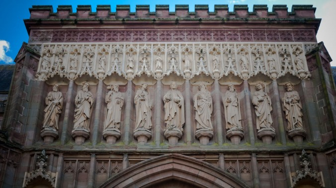 Stone carvings on Worcester Cathedral