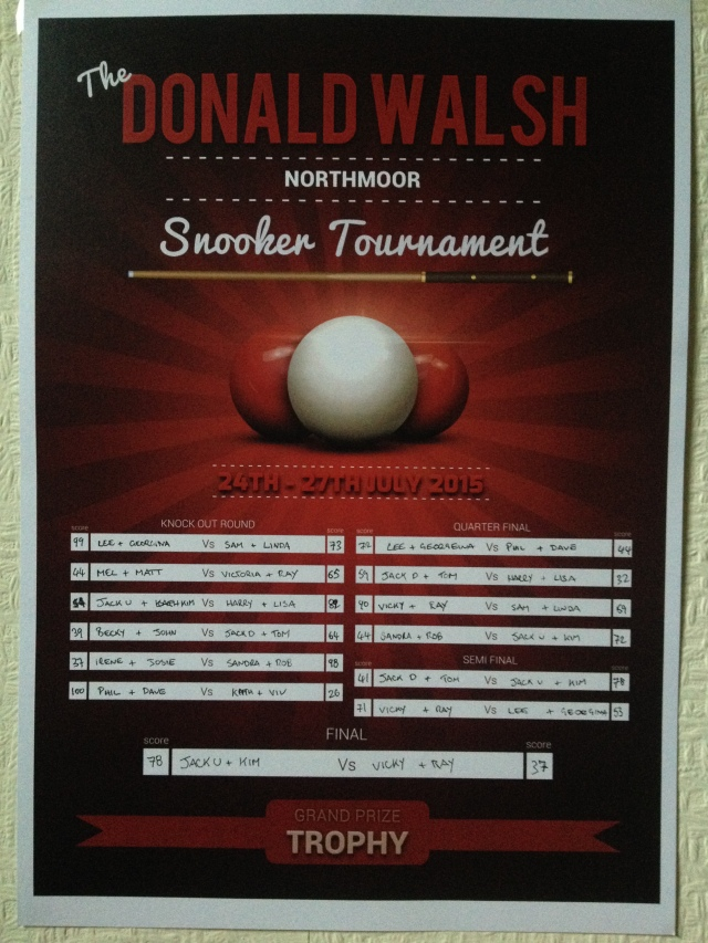 Donald Walsh Snooker Tournament 2015