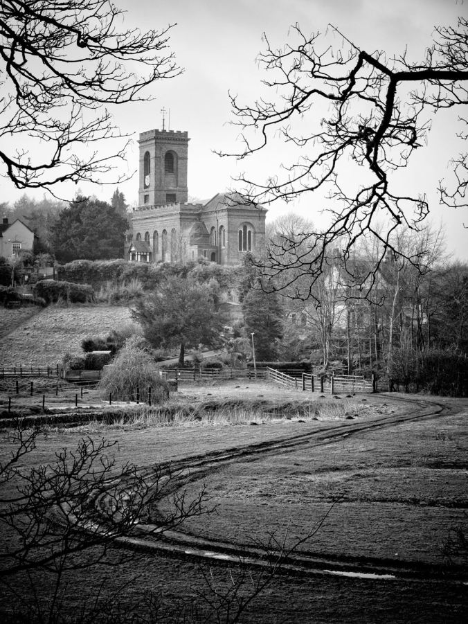 The Italianate church high on the hill at Worsley, on the Staffordshire and Worcester Canal