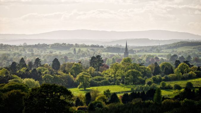 The view over Worcestershire towards the Malvern Hills from the church above Tardebigge on the Birmingham and Worcester Canal
