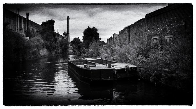 Two working barges moored in the Icknield Arm of the Birmingham Main Line