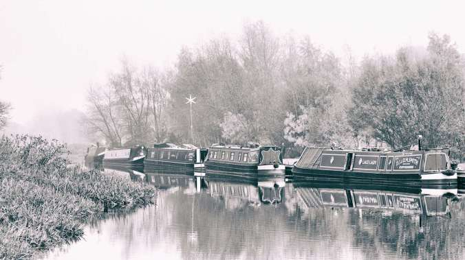 All tucked up for the long winter months at Wychnor moorings