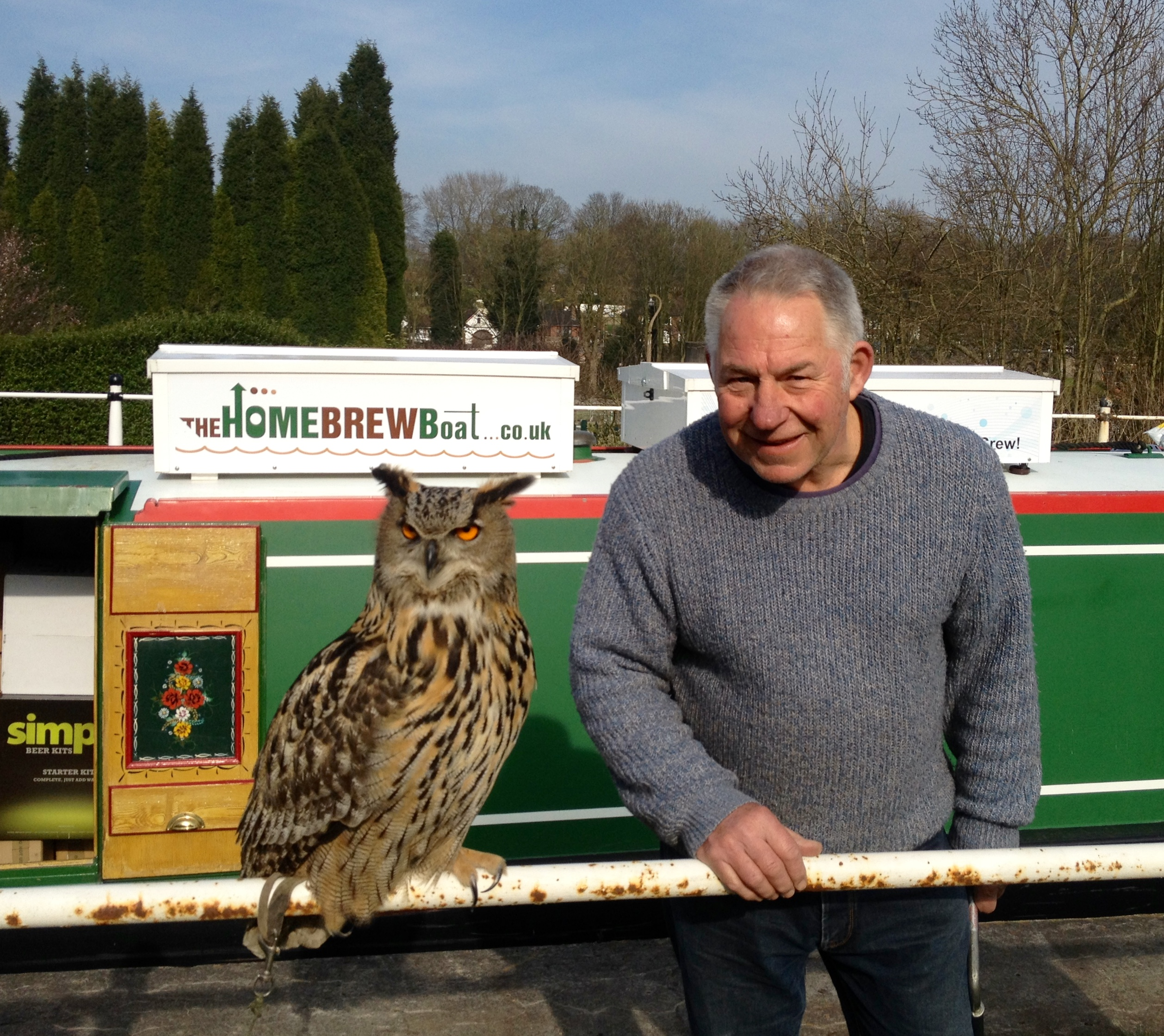 An owl and The Home Brew Boat at The Red Bull pub