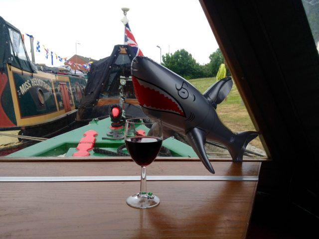 Sharky Mc Shark enjoying a red wine on The Home Brew Boat
