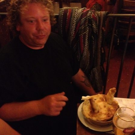 Toastie's challenged to eat the Desperate Dan pie