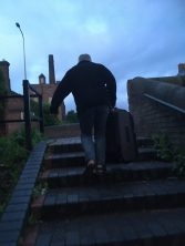 Barry carries my suitcase up the stairs at 0430!