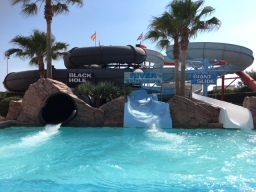 The massive slides at the Aqua Park