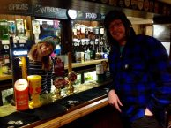 Gav and the barmaid in their hats!