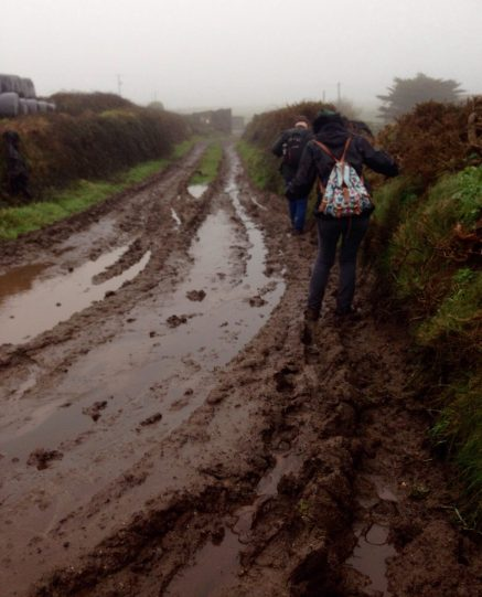 The only route we found to the road covered in mud (and sileage!)