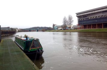 Moored opposite Nottingham Forest FC
