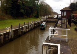 A tiny boat in a massive lock!