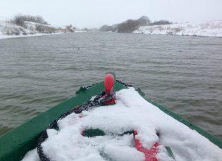 Cruising to Bardney cutting through ice at times
