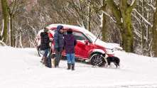 Sara had left the car with snow tyres fitted at the end of the lane just in case - thank goodness!