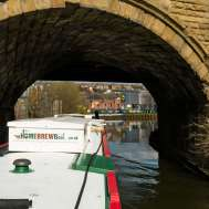 Under the railway bridge, hard right past our short mooring for Lidl's the other week