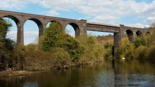 Then under the impressive Conisborough Railway Viaduct