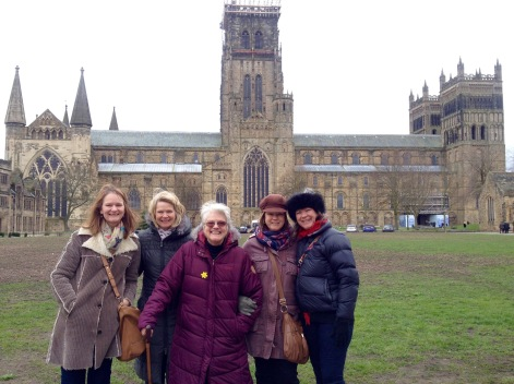 Mum and her four daughters at Durham Cathedral March 2016, celebrating her 83rd birthday back in her birthplace Sunderland for a few days