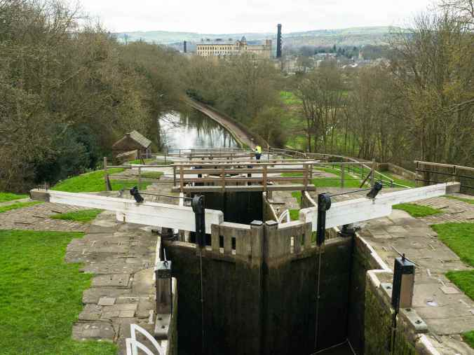 Top lock of the Bingley Five Rise Staircase Locks by Barry Teutenberg