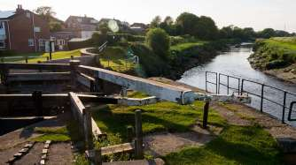 Tarleton Lock with the River Douglas well below